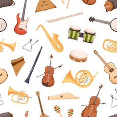 Fototapeta Seamless pattern with different classical and ethnic music instruments on white background. Repeatable texture with trumpet, guitar, saxophone and drums for printing. Colored flat vector illustration obraz