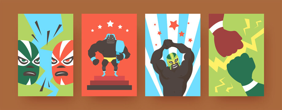 Set of contemporary art posters with Mexican wrestlers. Vector illustration. .Colorful collection of angry wrestlers in colorful suits during fight in bright background. Fight, wrestling, sport