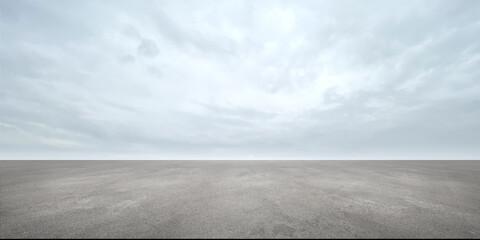 Empty Concrete Floor Background Scene with Beautiful Sky Clouds