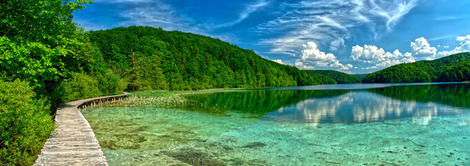"""Extra wide panorama of """"Plitvice"""" Lake, path and bridge in HDR Croatia Europe National Park"""