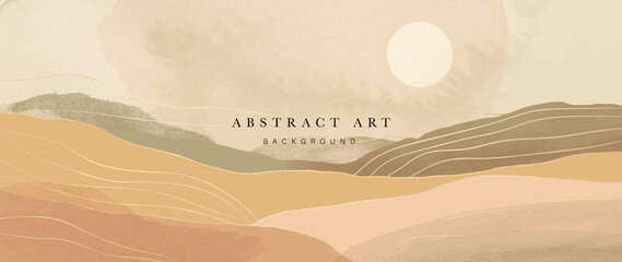 Mountain and sun Abstract art background vector. Luxury oriental style watercolor background with line art and brush texture. Wallpaper design for prints, cover, banner, wall art and home decoration.