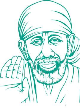 Sketch of Kaliyug Indian God Shirdi Sai Baba outline editable illustration