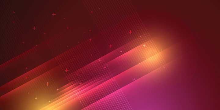 Red background in vector illustration with glow and lights.