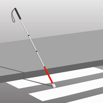 white cane safety day concept banner realistic illustration.