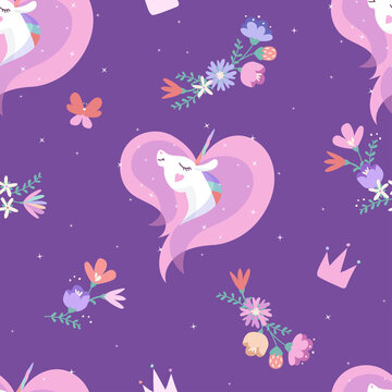 Unicorn vector seamless pattern with crowns, flowers, hearts,  butterfly. White pony head with horn and rainbow mane (heart form).  Horse on dark purple background with stars. Wrapping paper design