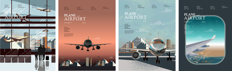 Airplane and airport. Vector illustration of a porthole with an airplane wing, flight and terminal interior with traveling people