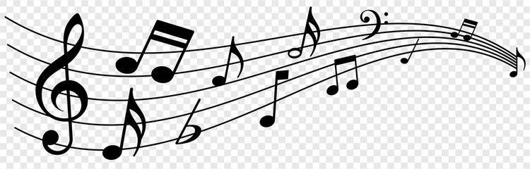 Obraz Music notes wave, musical notes on transparent background, Music notes decorative background, vector illustration - fototapety do salonu