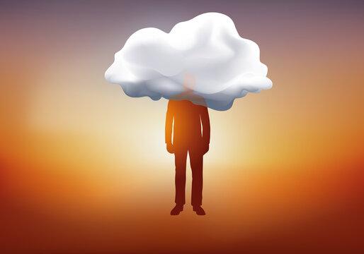 Concept de l'imaginaire et du rêve, avec le symbole d'un homme qui flotte dans le ciel avec la tête dans un nuage.