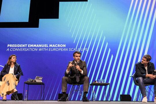 French president Emmanuel Macron visits tech show Viva Tech