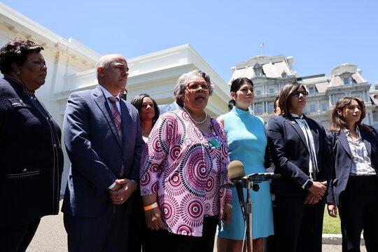 Texas legislators speak to the media at the White House in Washington