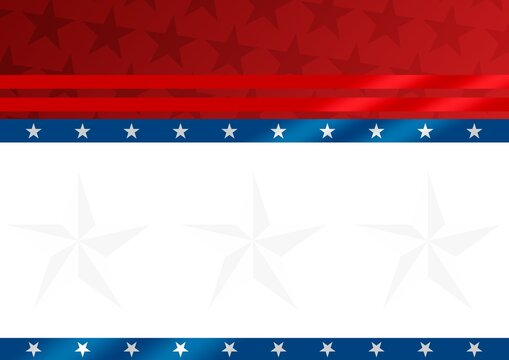 Composition of white stars and red, white and blue stripes of american flag, with white copy space