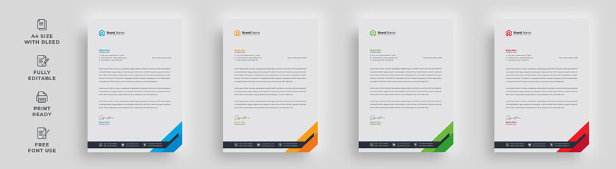 Obraz letterhead flyer corporate official minimal creative abstract professional informative newsletter magazine poster brochure design with logo - fototapety do salonu