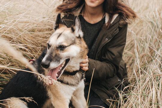 Girl with homeless dog