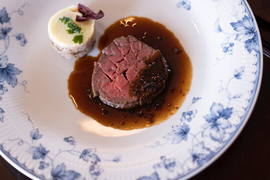 The main dish is sauteed beef fillet