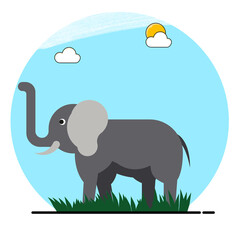 elephant design in flat style with daytime background