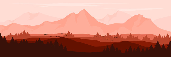 Fototapeta landscape mountain scenery vector illustration for pattern background, wallpaper, background template, and backdrop design  obraz