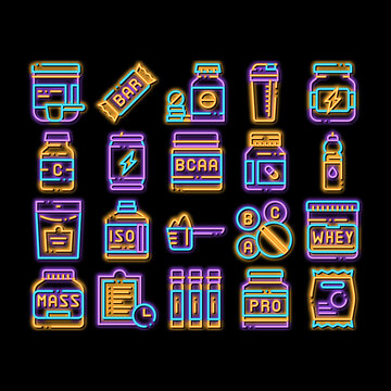 Sport Nutrition Cells neon light sign vector. Glowing bright icon Sport Nutrition for Sportsmen Pictograms. Dietary Nutrition, Protein Ingredients, Wheys, Bars for Bodybuilding Illustrations