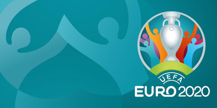 Vinnytsia, Ukraine - June 16, 2021 UEFA EURO 2020 official logo isolated on blue background
