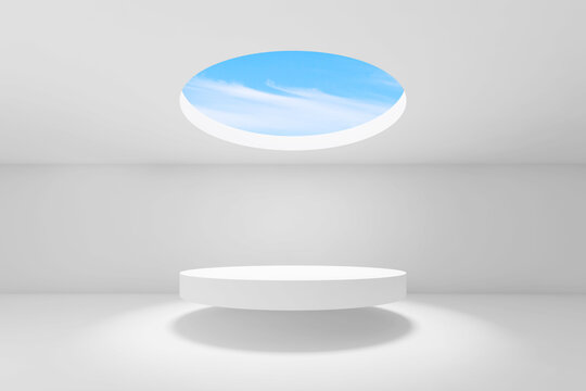 Abstract empty white interior background, 3 d