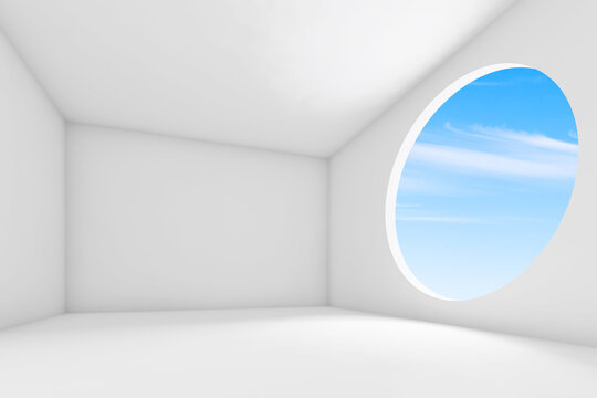 Abstract white blank interior background, 3d render