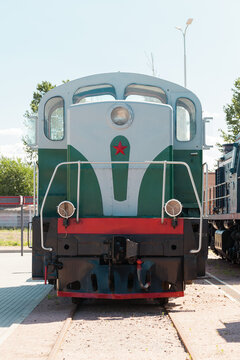 Vintage Soviet diesel locomotive is on a railway