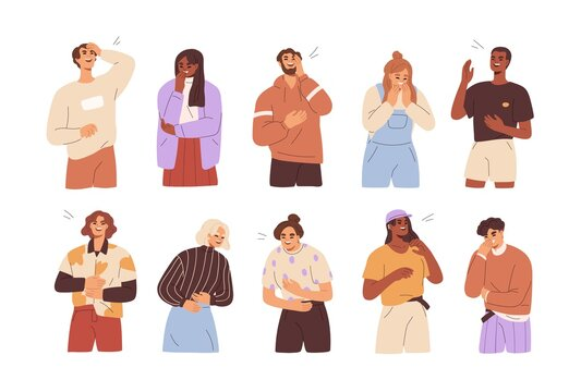 Set of diverse people laughing out loud. Funny laughter of happy cheerful men and women. Portraits of joyful characters with positive emotion. Flat vector illustration isolated on white background