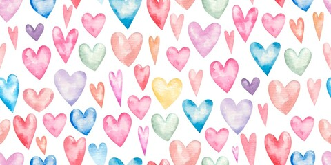 seamless pattern with hearts for valentine's day, cute childrens illustration, print, design