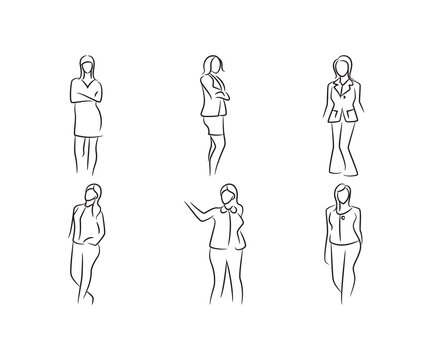 sketch hand drawn woman model pose set vector illustration