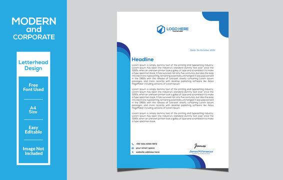 Modern and corporate letterhead design template
