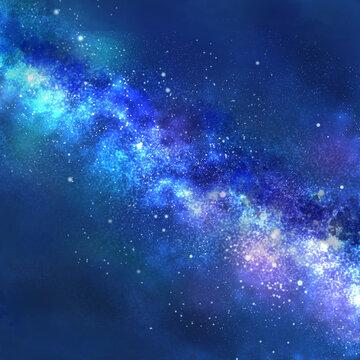 天の川が流れる夜空(正方形)