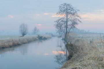 Rzeka Wolbórka. Wschód słońca.