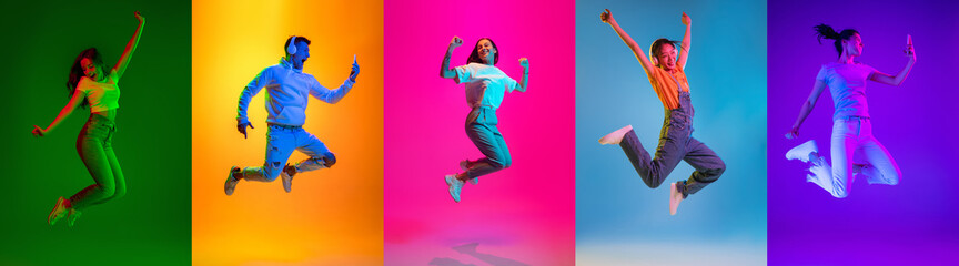 Fototapeta Portraits of group of people on multicolored background in neon light, collage. obraz