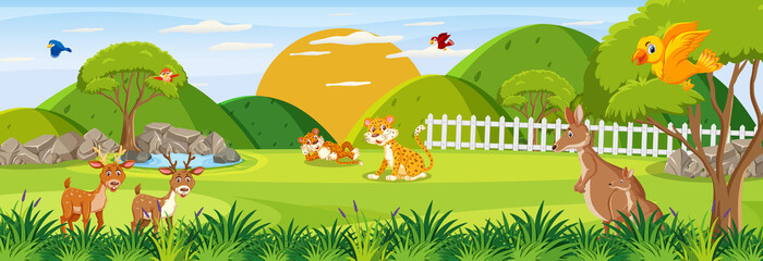 Panorama landscape scene with various wild animals in the forest