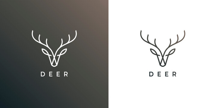 Deer head antler line icon. Elk buck symbol. Wild animal logo. Wilderness sign. Vector illustration.