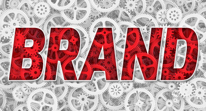 Brand. The red word. Red word BRAND on the background image from gars and cogwheels of different sizes