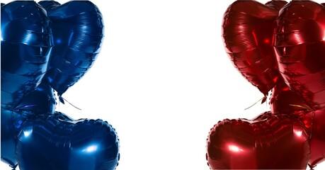 Samenstelling van rode en blauwe ballonnen met kopie ruimte op witte achtergrond