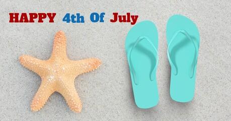 Samenstelling van de gelukkige tekst van 4 juli met zeester en slippers op zand