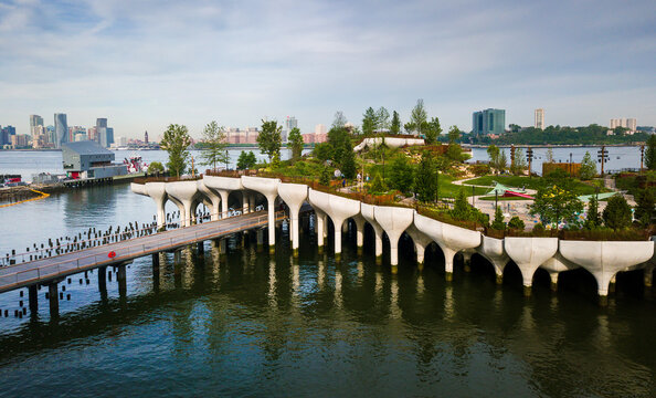 New York, United States - June 1, 2021:  Little Island park at Pier 55 in New York new landmark of the city