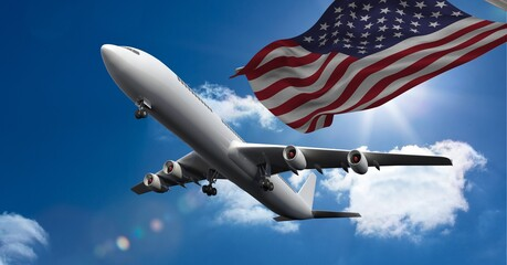 Samenstelling van vliegtuig dat tegen de Amerikaanse vlag en de lucht vliegt