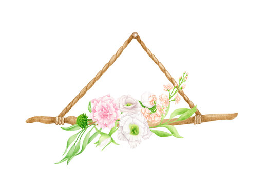 Watercolor hanging floral decoration. Hand drawn wooden branch on rope with flowers and leaves. Wedding wall decoration isolated on white. Wood stick, rustic natural design, eco decor illustration