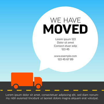 We are moving minimalistic light color flyer template