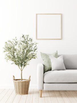 Square poster mockup with wooden frame in traditional living room interior with sofa, green pillow and olive tree in wicker basket on empty white wall background. 3D rendering, illustration