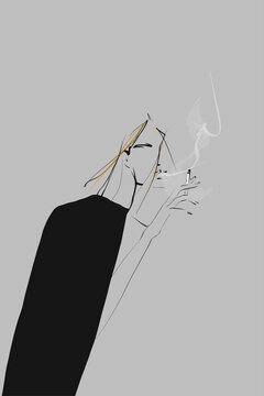 Portrait of smoking woman. Illustration in sketch style. Vector