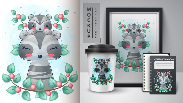 Cute raccoon poster and merchandising.