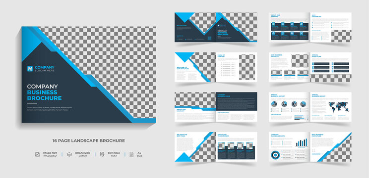 Corporate modern bi fold landscape brochure template and company profile with blue and black creative shapes annual report design ,Multipurpose template