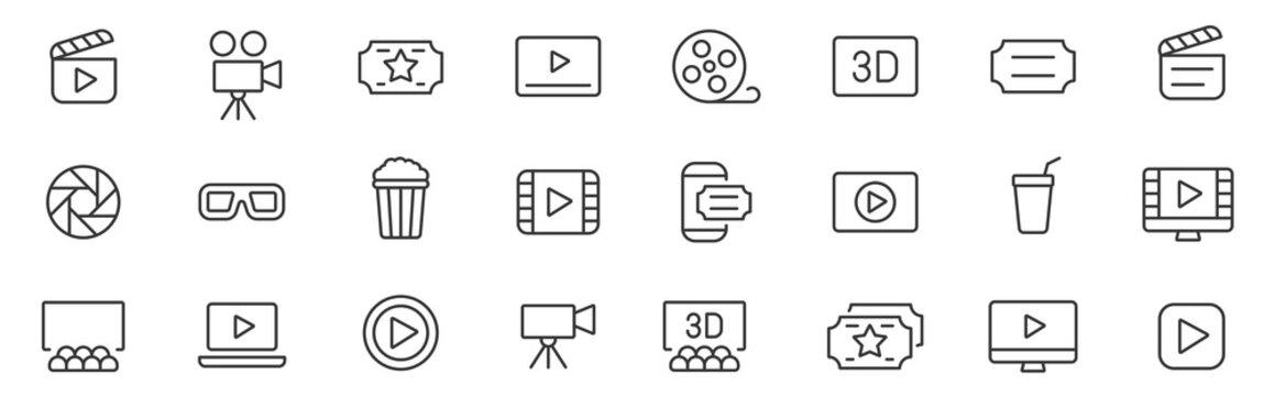 Cinema icons set. Movie simple line icons vector