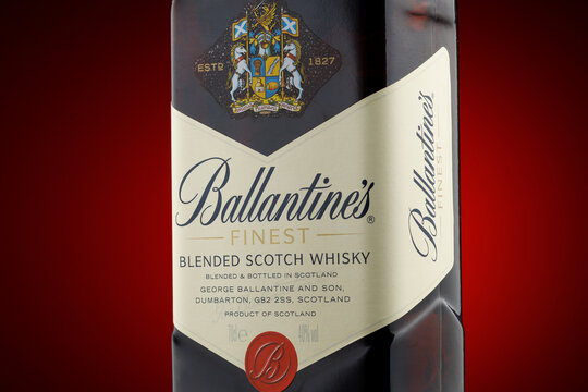 LVIV, UKRAINE - June 11, 2021:ballantines scotch whiskey
