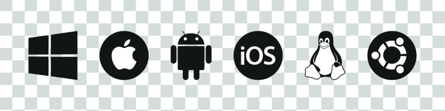 Operating Systems black logo set : Windows, Android, Mac OS, Apple IOS, Linux, Ubuntu. Mobile and desktop OS. OS logotype icons collection.