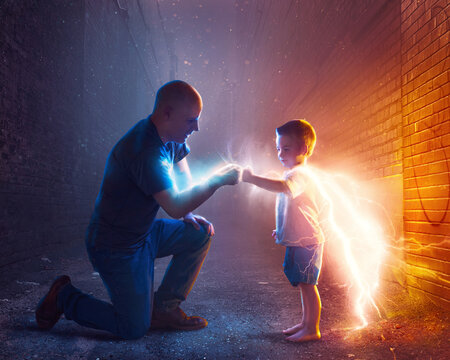 Father and child being superheroes