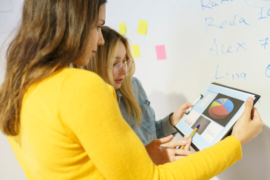 Female professionals discussing over digital tablet at office
